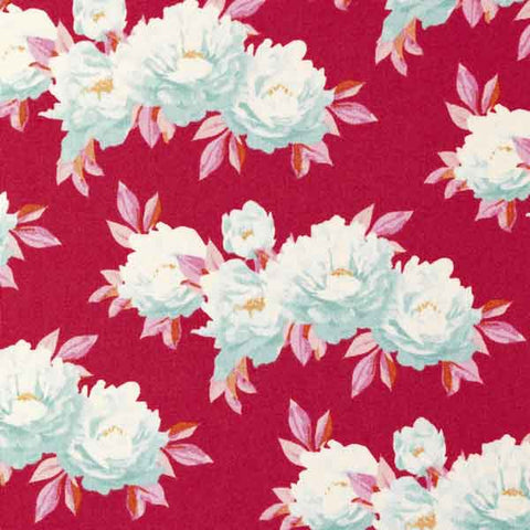 Tilda Minerva Red Cotton Fabric, Cottage Collection, Tilda Fabric 481514 - Fabric and Ribbon