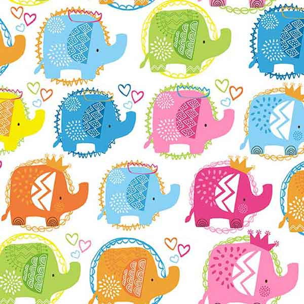 Kid's Pink Elephant Cotton Fabric by Makower 2066/P from their Ellie Collection