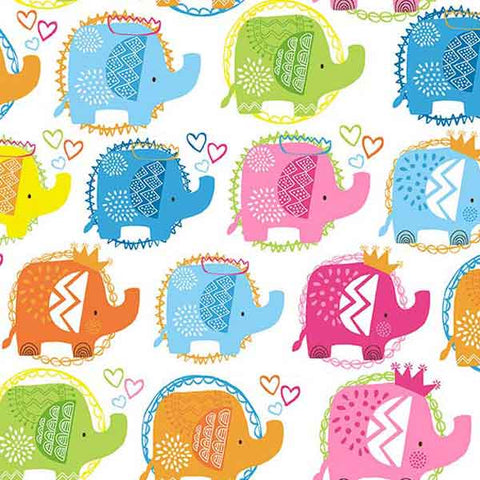 Baby Pink Elephant Cotton Fabric by Makower from their Ellie Collection, Kid's Coloured Elephants on White Cotton Fabric