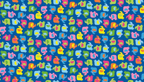 Kid's Blue Mini Elephant Cotton Fabric by Makower 2069/B from their Ellie Collection