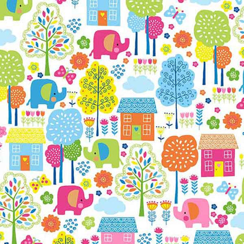 Kid's Bright Scenic Elephant Cotton Fabric by Makower 2070/P from their Ellie Collection
