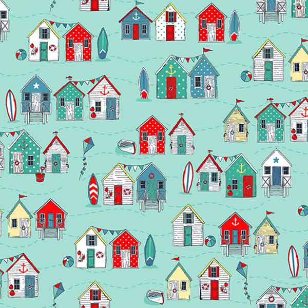 Turquoise Beach Huts Cotton Fabric by Makower 2080/T from their Sea Breeze Collection