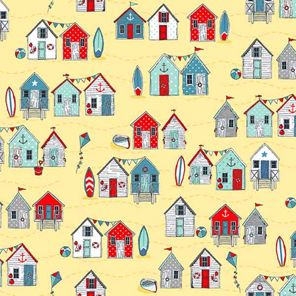 Red and Blue Beach Huts Yellow Cotton Fabric by Makower, Sea Breeze Collection, Seaside Fabric