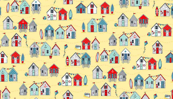 Yellow Beach Huts Cotton Fabric by Makower 2080/Y from their Sea Breeze Collection