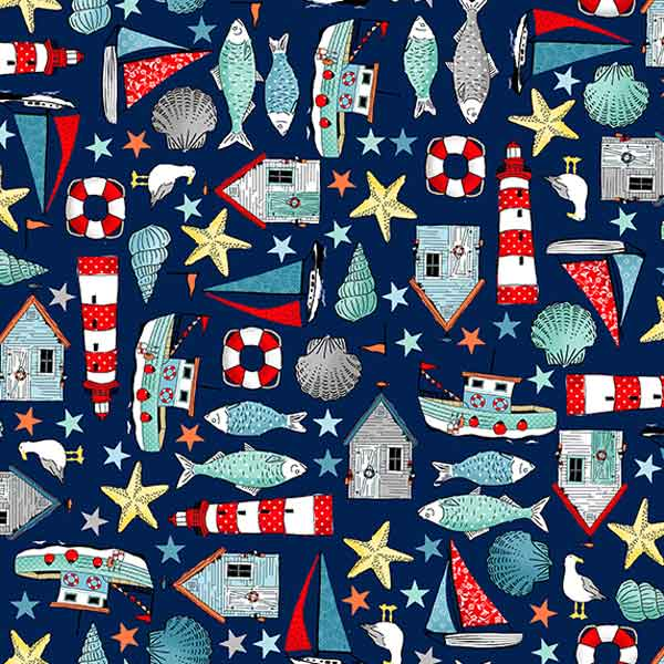 Blue Seaside Icons Cotton Fabric by Makower from their Sea Breeze Collection, Seaside Fabric, Dark Blue Seaside Icons Montage Cotton Fabric