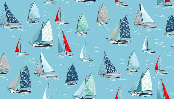 Blue Yachts Cotton Fabric by Makower 2082/B4 part of their Sea Breeze Collection - Fabric and Ribbon