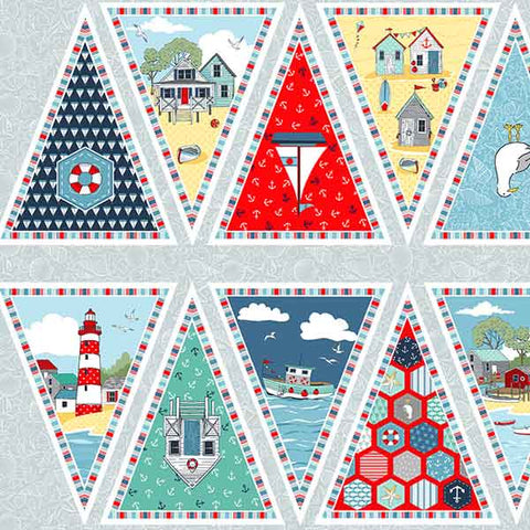 Seaside Bunting Cotton Fabric by Makower 2087 from their Sea Breeze Collection