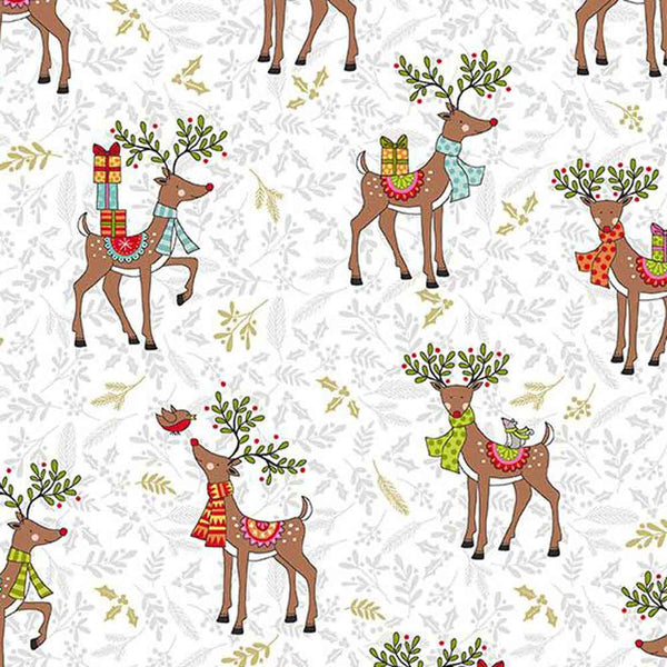 Festive Reindeer Cotton Fabric by Makower 2119/1, Festive Collection - Fabric and Ribbon