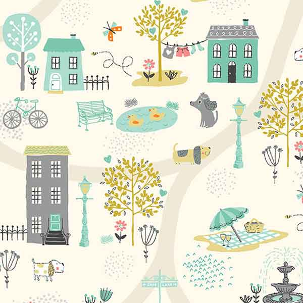 Cream Scenic Dogs Cotton Fabric by Makower 2141/Q from their Walk in the Park Collection - Fabric and Ribbon