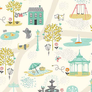 Cream Scenic Dogs Cotton Fabric by Makower 2141/Q from their Walk in the Park Collection
