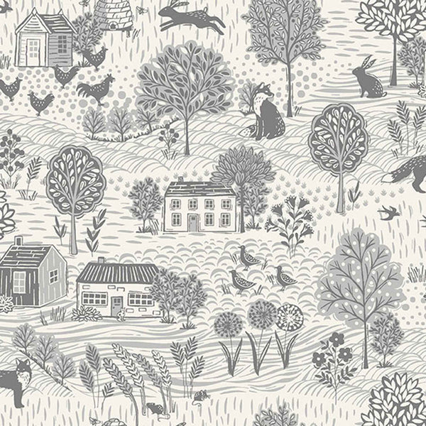 Country Scene Grey on Cream Cotton Fabric by Makower 2159/S2, Grove Collection - Fabric and Ribbon