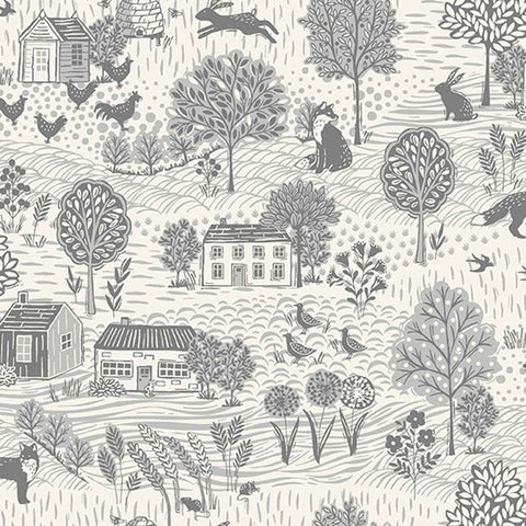 Country Scene Grey on Cream Cotton Fabric by Makower 2159/S2 from their Grove Collection