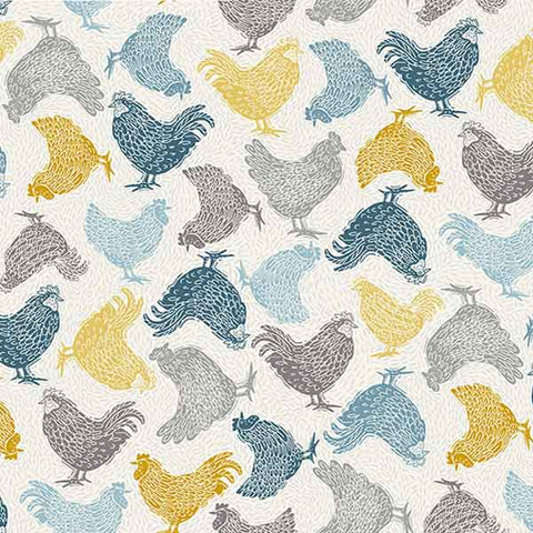 Chickens on Cream Cotton Fabric by Makower 2160/Q, Grove Collection - Fabric and Ribbon