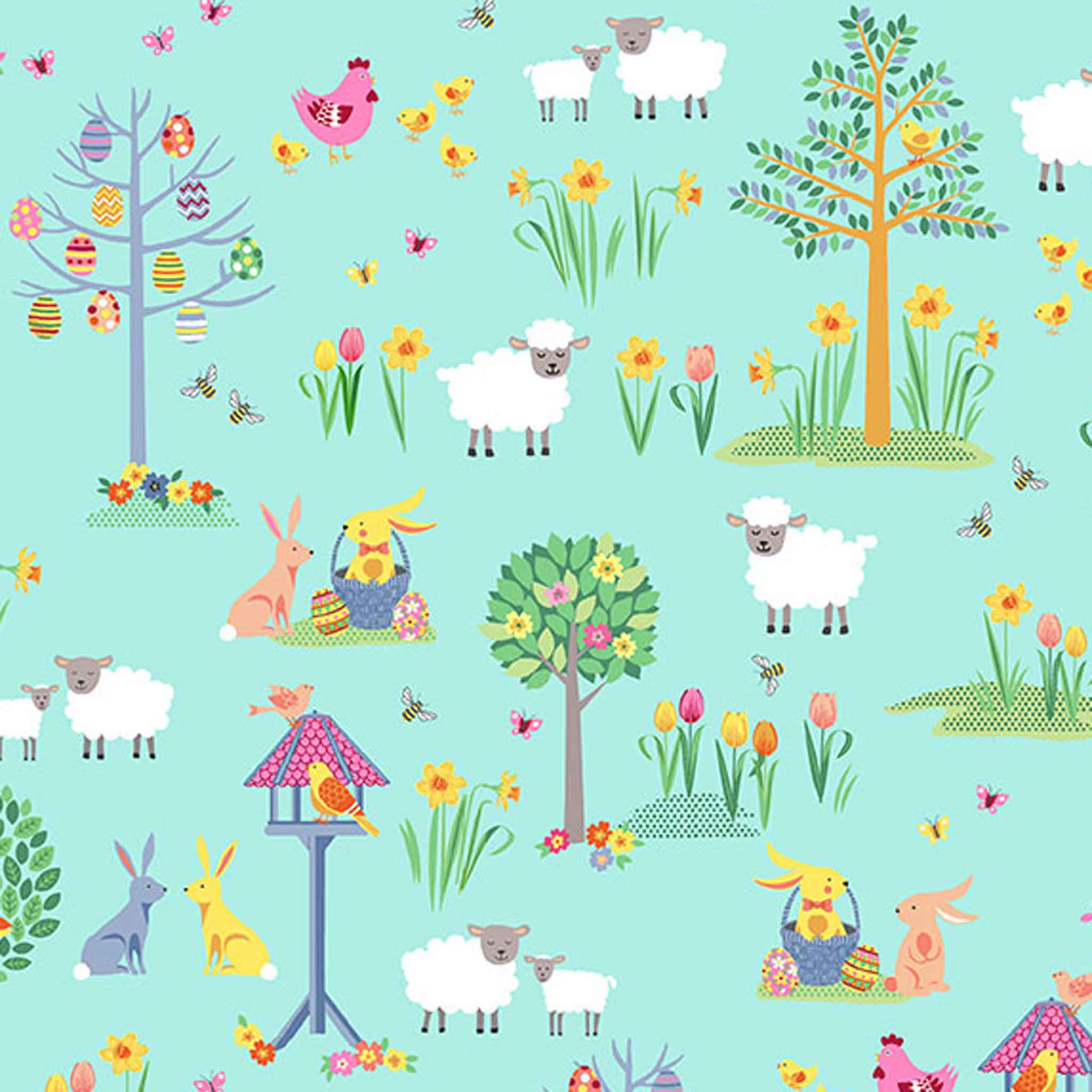 Turquoise Spring Garden Cotton Fabric by Makower 2187/T, Spring Collection - Fabric and Ribbon
