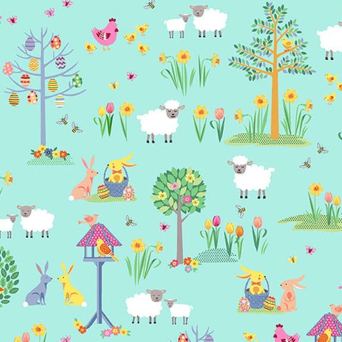 Turquoise Spring Garden Cotton Fabric by Makower 2187/T from their Spring Collection, Kid's Rabbit and Sheep Cotton Fabric