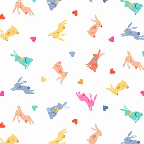 Coloured Rabbits on Cream Cotton Fabric by Makower 2189/Q, Spring Collection - Fabric and Ribbon