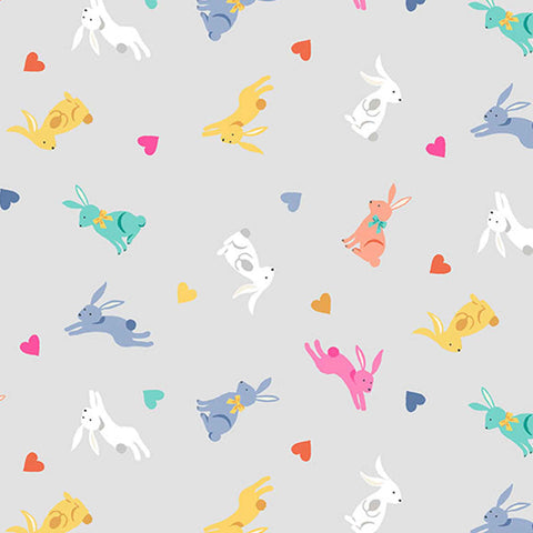 Coloured Rabbits on Silver Cotton Fabric by Makower 2189/S from their Spring Collection
