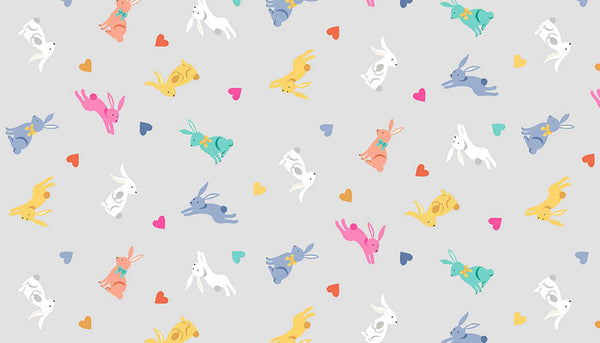 Coloured Rabbits on Silver Cotton Fabric by Makower 2189/S, Spring Collection - Fabric and Ribbon