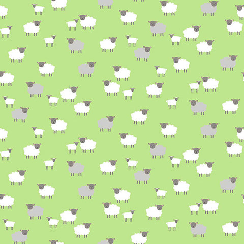 Green Sheep Cotton Fabric, Makower 2190G Spring Collection