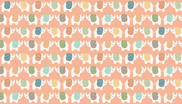 Pink Elephant Cotton Fabric by Makower 2198/P, Jungle Friends Collection - Fabric and Ribbon