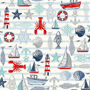 White Seaside Icons Cotton Fabric by Makower 2207/Q from their Sail Away Collection