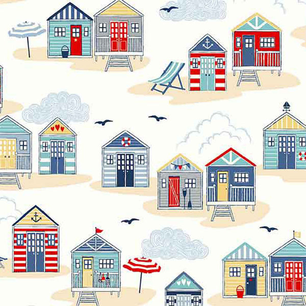 White Beach Huts Cotton Fabric by Makower 2209/Q, Sail Away Collection - Fabric and Ribbon