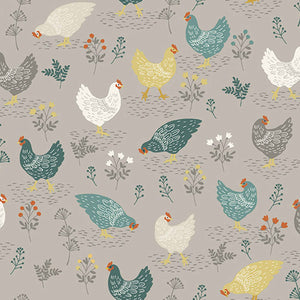 Grey Hens Cotton Fabric by Makower 2262/S, Clara's Garden Collection - Fabric and Ribbon
