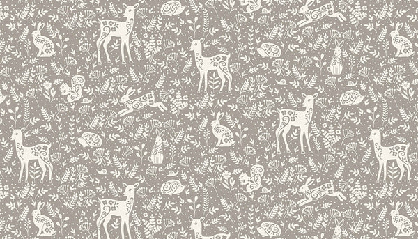 Animals Grey Cotton Fabric by Makower 2264/S, Clara's Garden Collection - Fabric and Ribbon
