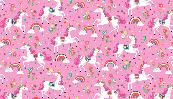 Kid's Pink Unicorn Cotton Fabric by Makower 2275/P Daydream Collection