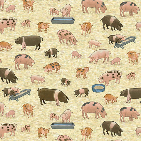 Pigs Cotton Fabric by Makower 2292/1, Village Life Collection - Fabric and Ribbon