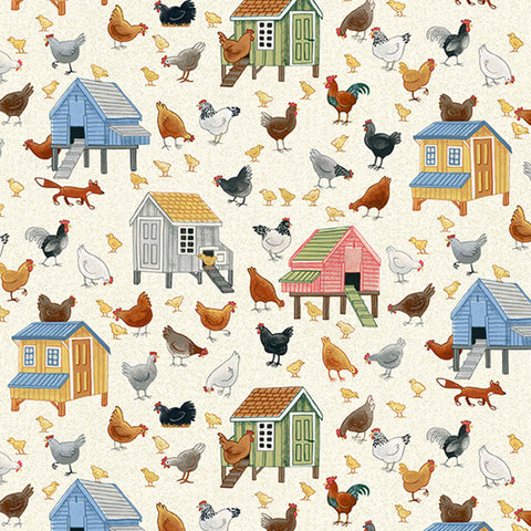 Chickens Cotton Fabric by Makower 2294/1, Village Life Collection - Fabric and Ribbon