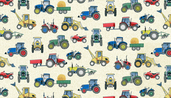 Cream Tractors Cotton Fabric by Makower 2296/Q, Village Life Collection - Fabric and Ribbon