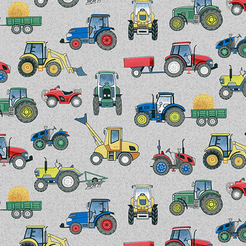 Grey Tractors Cotton Fabric by Makower 2296/S, Village Life Collection - Fabric and Ribbon