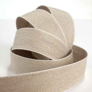 25 mm Linen Ribbon by La Stephanoise, 1 inch Natural Linen Ribbon with White Edges - Fabric and Ribbon