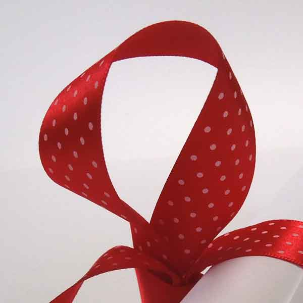 Micro Dot Red Satin Ribbon 10 mm, 15 mm, 25 mm width