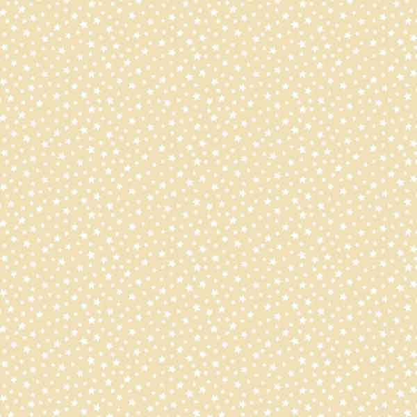 Cream Stars Cotton Fabric by Makower, 306/Q6 from their Essentials Collection, White Stars on Cream Fabric