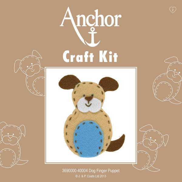 Kid's Dog Finger Puppet Kit, Anchor 1st Craft Kit - Fabric and Ribbon