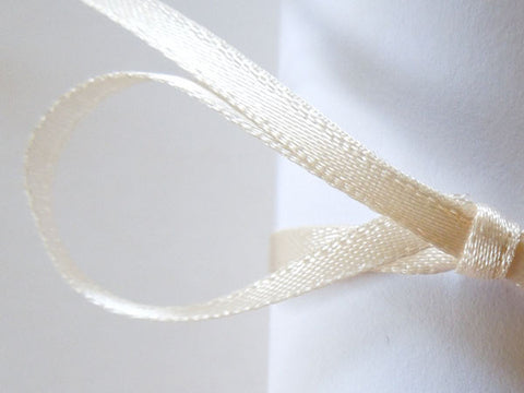 3 mm Cream Satin Ribbon by Berisfords, 1/8 inch Cream Double Sided Fabric Ribbon