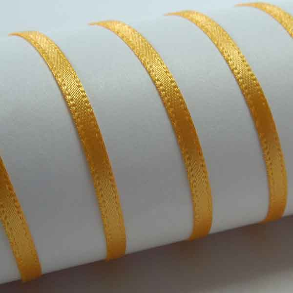 Gold Double Sided Satin Ribbon, 3 mm, 7 mm, 10 mm, Old Gold Plain Narrow Fabric Ribbon
