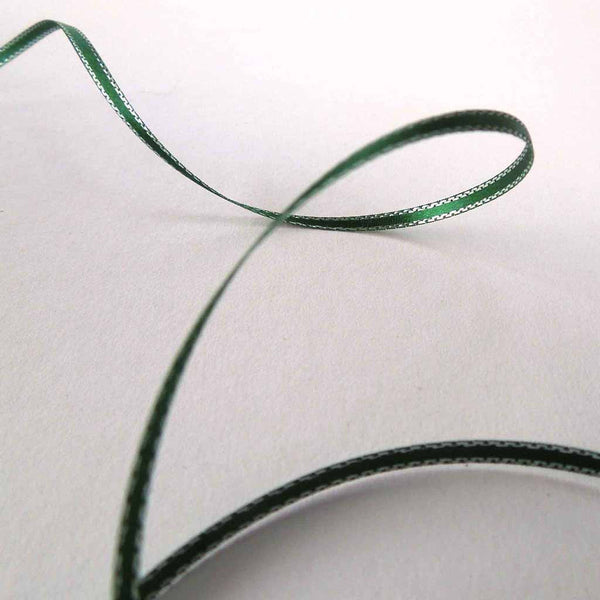 Silver Edged Satin Ribbon Hunter Green by Berisfords, 3 mm, 7 mm, 15 mm width