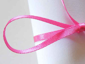 3 mm Bright Pink Satin Ribbon by Berisfords, 1/8 inch Shocking Pink Double Sided Fabric Ribbon