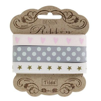 10 and 15 mm Tilda Ribbon, Happiness is Homemade Ribbon 480754 Set of 3 Tilda ribbons