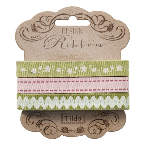 Apple Bloom Ribbon 480868, Set of 3 different Tilda ribbons,  2 metres x 10 mm, 6 metres in total