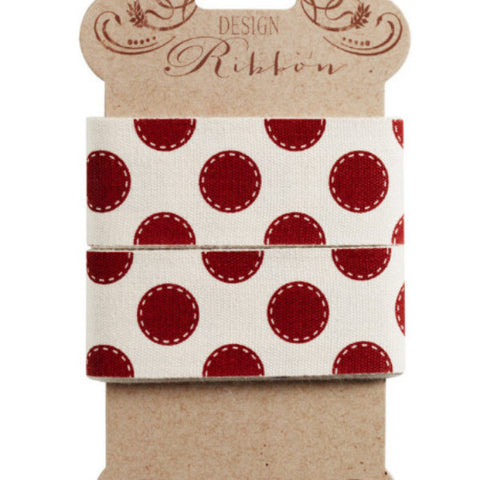 Tilda Ribbon, Sewn Spot Carmine Red Ribbon, part of Tilda's Sweetheart Collection,  3 metres of 30 mm wide pure cotton ribbon