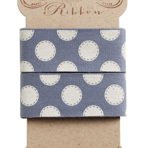 30 mm Tilda Ribbon, Sewn Spot Blue Ribbon 480967 part of Tilda's Autumn Tree Collection