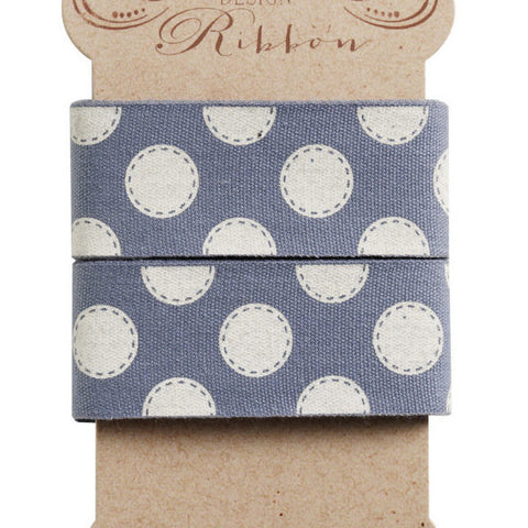 30 mm Tilda Ribbon, Sewn Spot Blue Ribbon 480967 part of Tilda's Autumn Tree Collection - Fabric and Ribbon