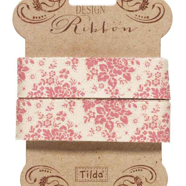 20 mm Tilda Ribbon, Audrey Pink Ribbon 481104 part of Tilda's Spring Diaries Collection