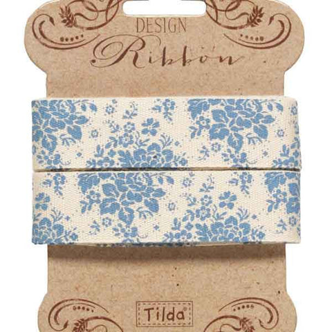 Tilda Ribbon, Audrey Blue Ribbon part of Tilda's Pardon My Garden Collection, 3 metres of 20 mm wide pure cotton ribbon