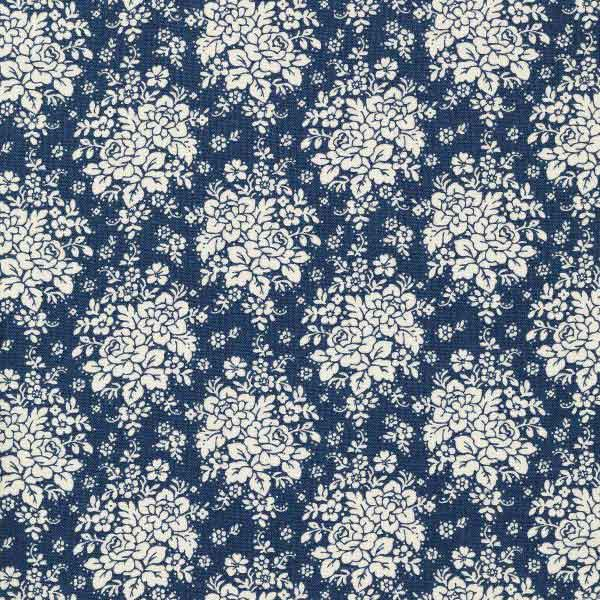 Tilda Audrey Dark Blue Cotton Fabric, Pardon My Garden Collection, Tilda Fabric 481115