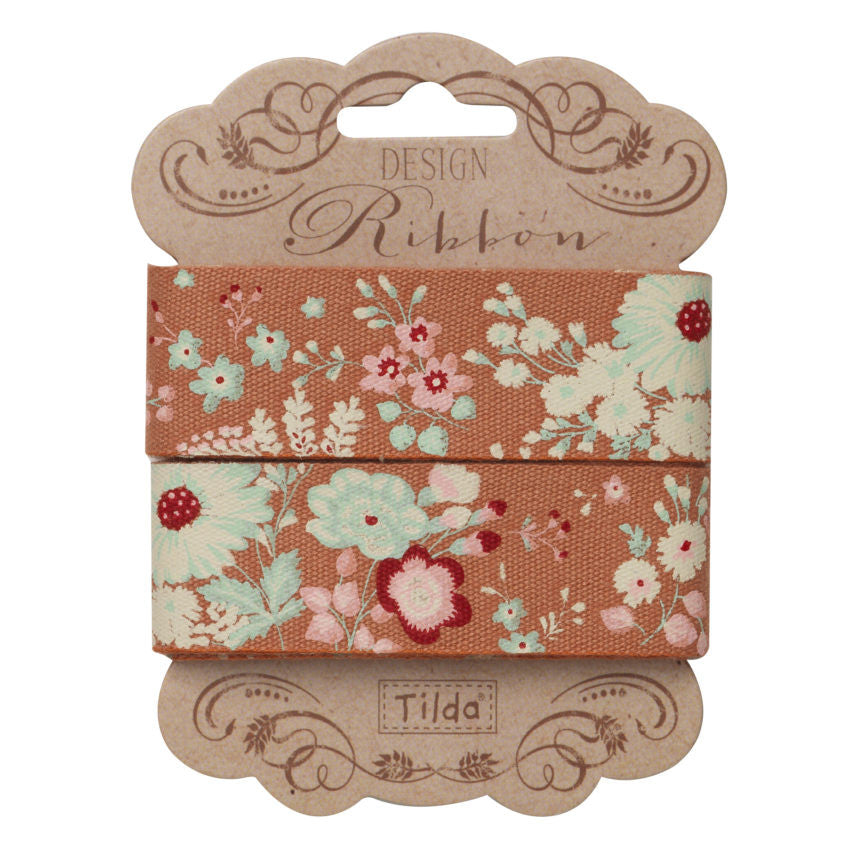 25 mm Tilda Ribbon, Lucille Ginger Ribbon 481276 part of Tilda's Cabbage Rose Collection